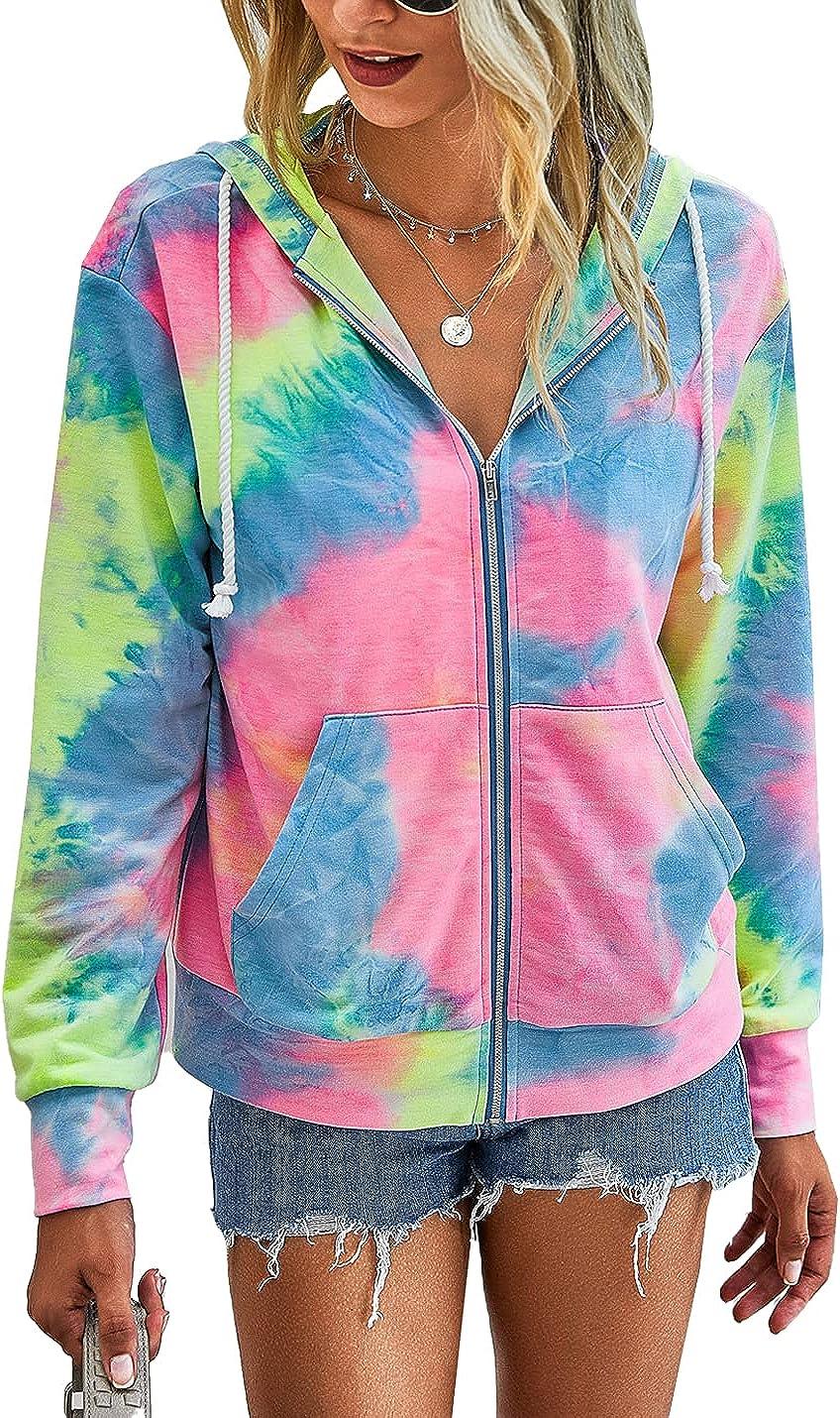Flygo Women's Tie Dye Full Zip Hoodie Workout Active Long Sleeve Sweatshirt Casual Jacket