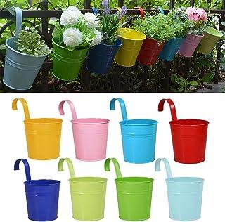 Macetas para Flores, RIOGOO Macetas de Metal para Flores, Macetas de Jardín, Balcóny Paredes, de Estilo Suspender (8 Piezas)