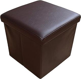 Style home Tabouret de rangement pliable, en similicuir, charge maximale: 300kg, 38x38x38cm, Similicuir, marron, 38...