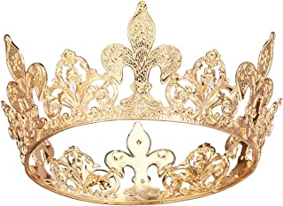 SWEETV Royal Gold Queen Crown for Women, Wedding Pageant Crown, Costume Party Accessories for Birthday, Halloween, Babyshower