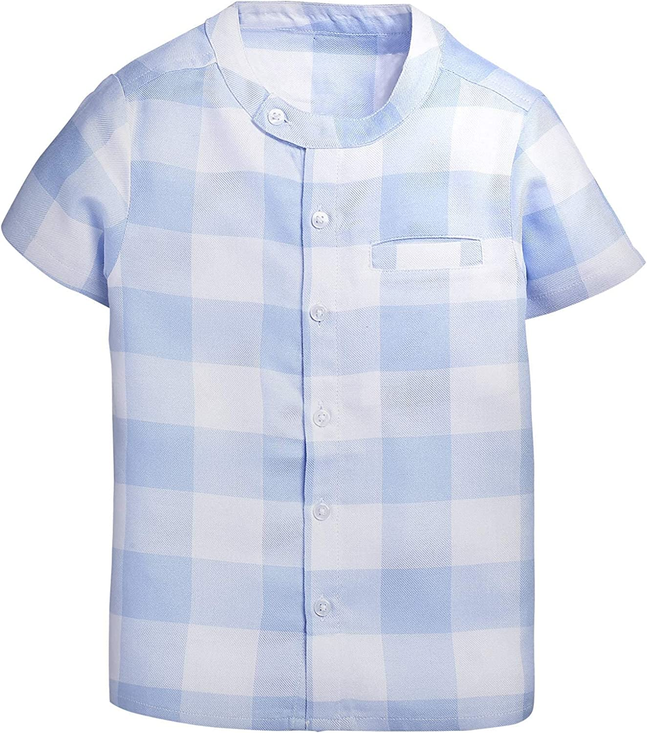 Oonico Chinese Collar Boys Shirt Blue and White Plaid Shirt/Light Blue and White Plaid Chinese Collar Shirt(Light Blue,2Y-3Y)