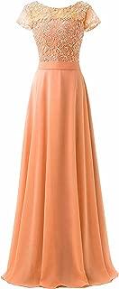 TalinaDress Women Chiffon Lace Rhinestones Cap Sleeves Bridesmaid Prom Evening Dress E061LF