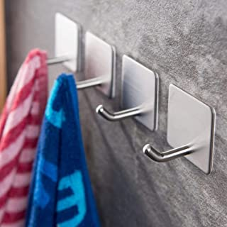 Angou 4 stuks zelfklevende handdoekhaken, zonder boren, wandhaken, kleefhaken, roestvrij staal, voor keuken en badkamer, ...