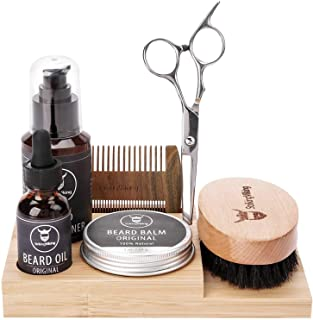 Wooden Beard Kit Holder - Beard Care Caddy for Men's Grooming Products - Small Bamboo Organizer Tray for Vanity Top - Hold...