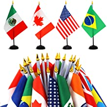 """ANLEY 24 Countries Deluxe Desk Flags Set - 8 x 5 Inches Miniature American US Desktop Flag with 13"""" Black Pole - Vivid Col..."""