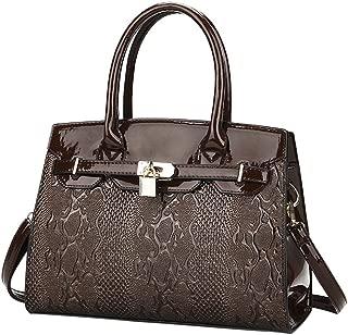 Women's Shiny Patent PU Leather Cobra Top Handle Bag Tote Cross boday Bag Satchel