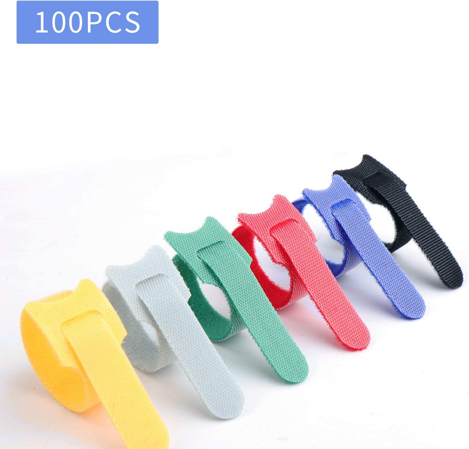 Pack of 100 Reusable Cord Ties Fastening Cable Ties Straps for Earbud Headphones Phones Wire Wrap Management,Hook and Loop Cord Ties L, Mixed