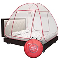 [LD] Good knight Mosquito Net For Double Bed, King-Size, Strong 30GSM net, High Durability, Foldable, Corrosion Resistant, Lightweight – Red
