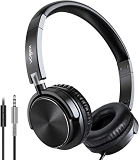 On Ear Headphones with Mic, Vogek Lightweight Portable Fold-Flat Bass Stereo Headphones with 1.5M Tangle Free Cord and Microphone-Black