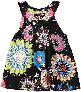 99a4e51816015 Oyedens Sweet Robe Fille Mode Fleur du soleil Bohême Plage Robe Bebe Fille  Ete Printemps Casual