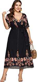Milumia Women Plus Size Tribal Wrap V Neck Short Sleeves Empire Waist Maxi Dress Black 3XL
