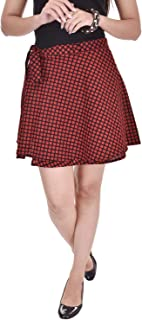8feead657 Pezzava Women's Cotton Printed Wrap Around Mini Skirt (Red, Free Size)