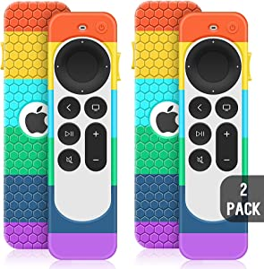 2 Pack Case for Apple TV 4K 2021 Remote Control,Cover for Siri Remote 2nd Generation/Apple TV 6 Generation Replacement Silicone New Sleeve Skin Holder Protective Grip Protector-Rainbow