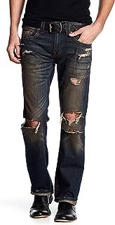 True Religion Men's Distressed Straight Runstitch Jeans