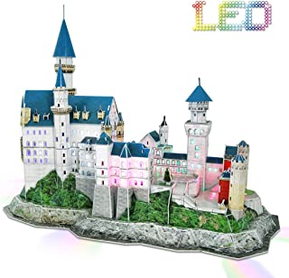 Cubicfun 3D Puzzles with LED Light Neuschwanstein Castle Germany Architectures Model Building Kits Puzzles for Adults Kids, 128 Pieces