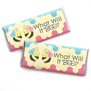 What Will It Bee - Candy Bar Wrapper Gender Reveal Favors - Set of 24