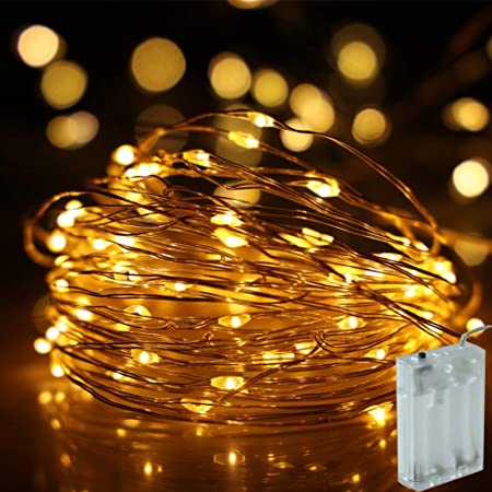 Fairy Lights Battery Operated, 33 Ft Battery Powered String Light, 100 LED Warm White Battery Fairy Light for Bedroom Chrismas Halloween Party Wedding