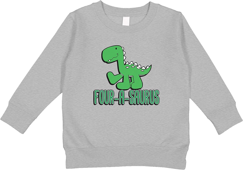 Amdesco Four-A-Saurus 4th Birthday Toddler Sweatshirt
