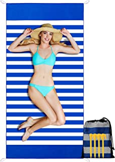 WAEKIYTL Microfiber Beach Towel for Travel - Quick Dry Towel for Swimmers Sand Free Towel Oversized 71 x 35 Inch Lightweight Compact Camping Towel with 4 Ground Stakes Beach Blanket for Kids & Adults