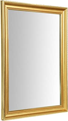 999Store Fiber Framed Decorative Wall Mirror or Bathroom Mirror Golden Green (24x18 Inches)