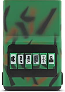 ACM Wallet Credit Card Holder - Camo Green & Black Front Pocket Organizer, Easy Push Button Use