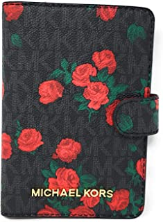 Michael Kors Jet Set Travel Passport Case Wallet (Black PVC Flowers)