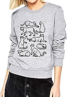 ZJP Womens Crew Neck Cute Cartoon Cats Print Long Sleeve Sweatshirts Tops Blouse