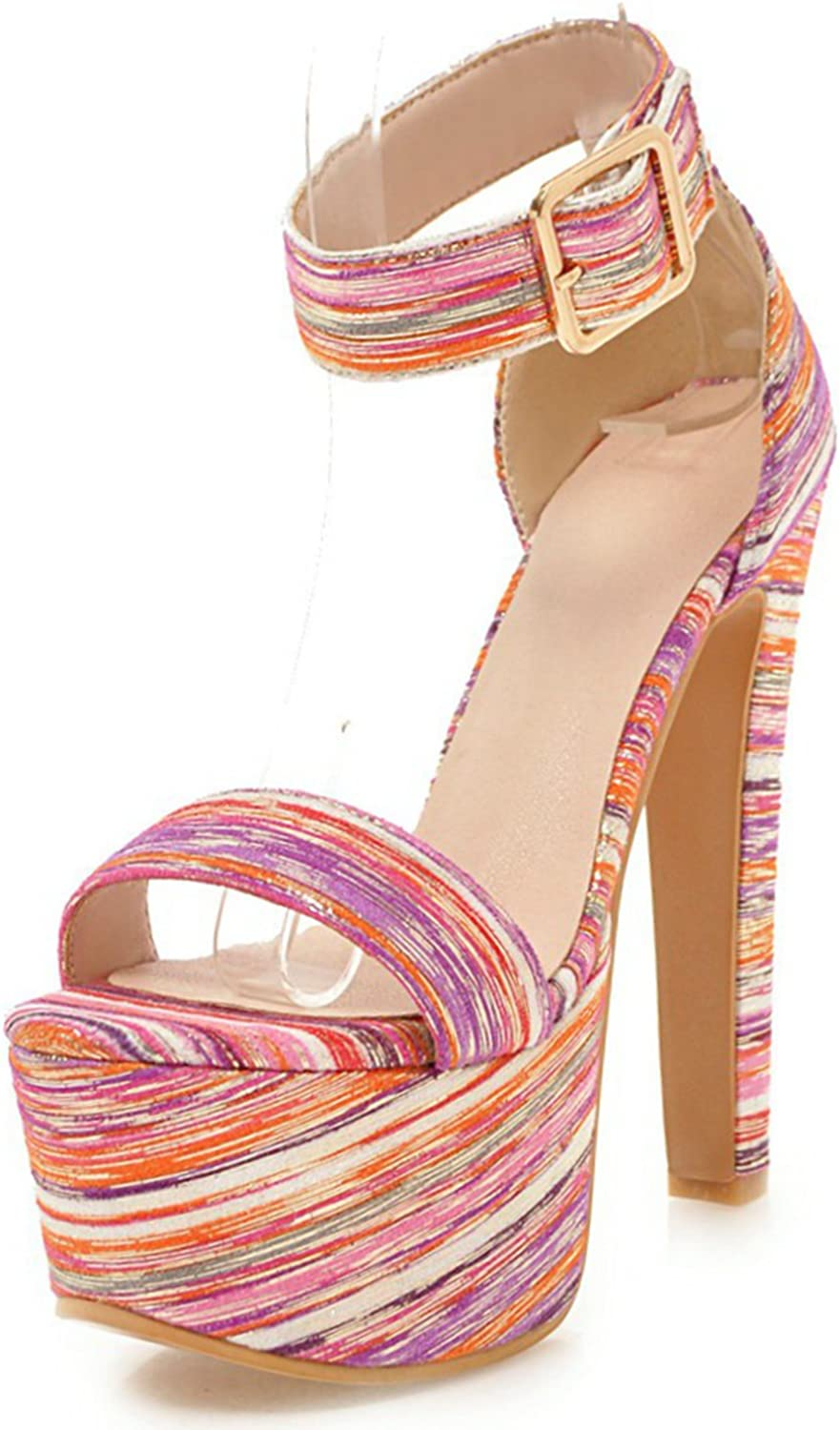 DoraTasia Women's Sexy Comfortable Breathable Sandals Heeled Sandals- Buckled Ankle Strap Open Toe High Heel Sandals