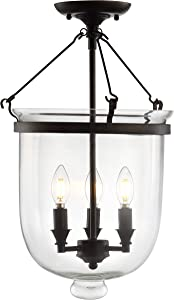 "JONATHAN Y JYL9039A Charlotte 14.5"" Metal/Glass LED Semi-Flush Mount Traditional,FrenchCountry,Classic Dimmable, 2700K Cozy Warm Light, for Kitchen,Hallway,Bathroom,Stairwell, Oil Rubbed Bronze"
