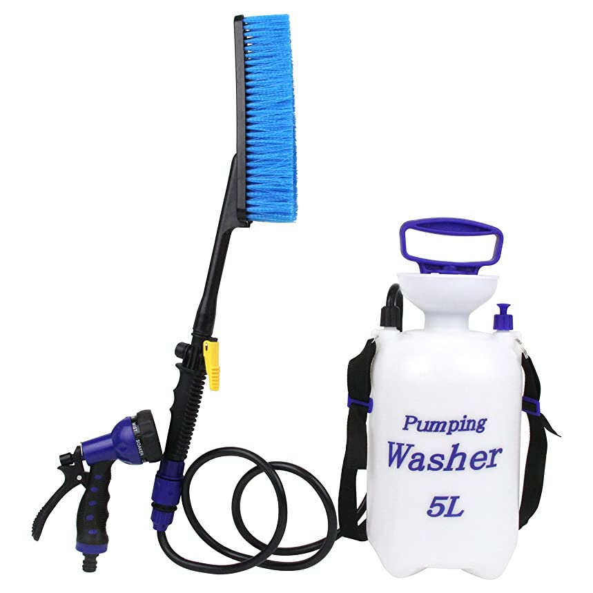 箱アンデス山脈めまいがセフティー3 電源不要 ポンピングウォッシャー 蓄圧式 お掃除ポンプ 5L SPW-1 ホースが届かない場所の水洗いに ブラシ 散水ノズル