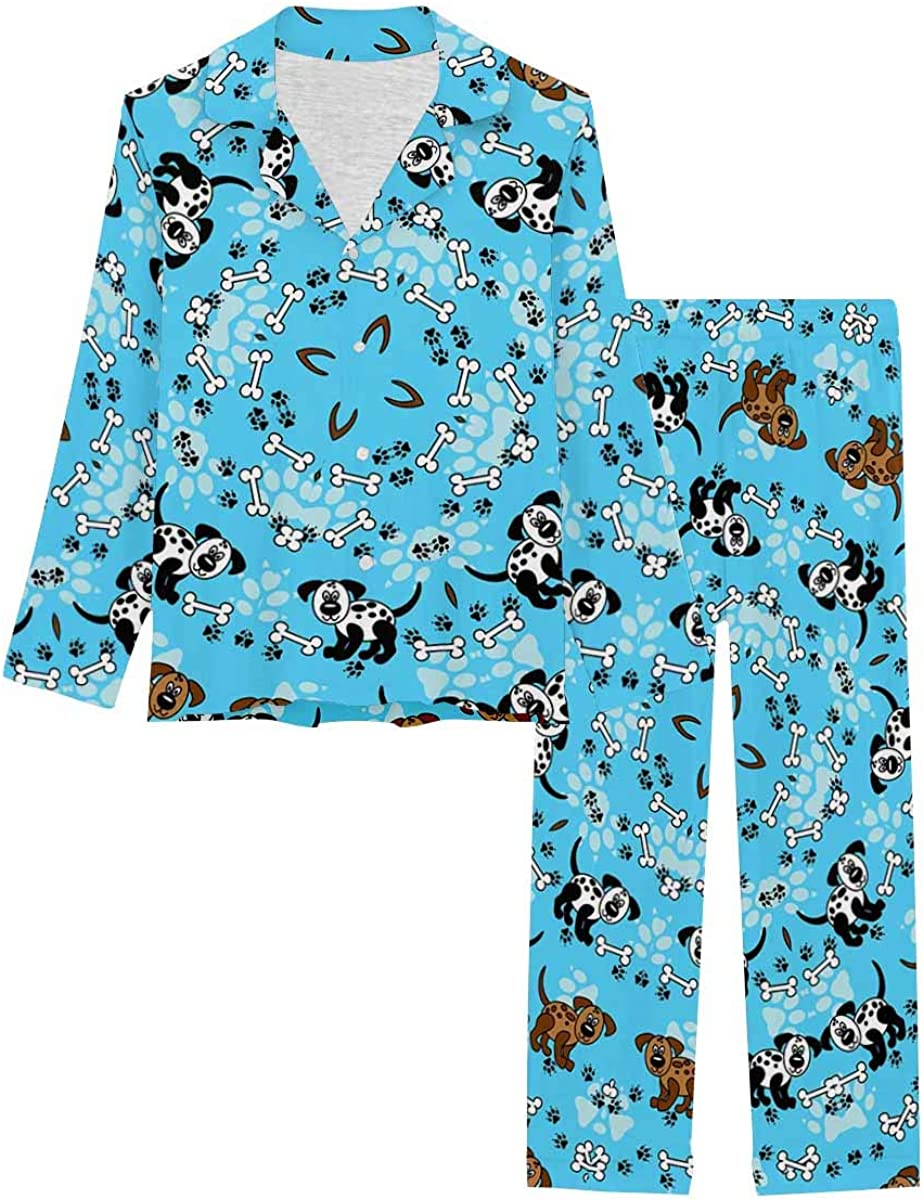 InterestPrint Women's Pajamas Set Long Sleeve with Long Pants XS-XXL Funny Spotted Dogs with Paw Prints and Bones