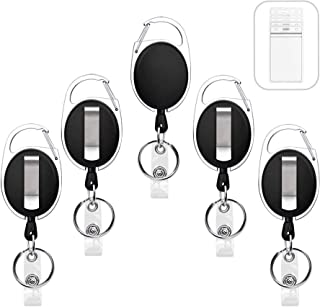 5 Pack Heavy Duty Retractable Badge Holders with Carabiner Reel Clip and Vertical Style Clear ID Card Holders, 24 inches T...