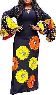 VERWIN Round Neck Long Sleeve Print Floral Women's Maxi Dress Pullover Dress Bodycon Dress