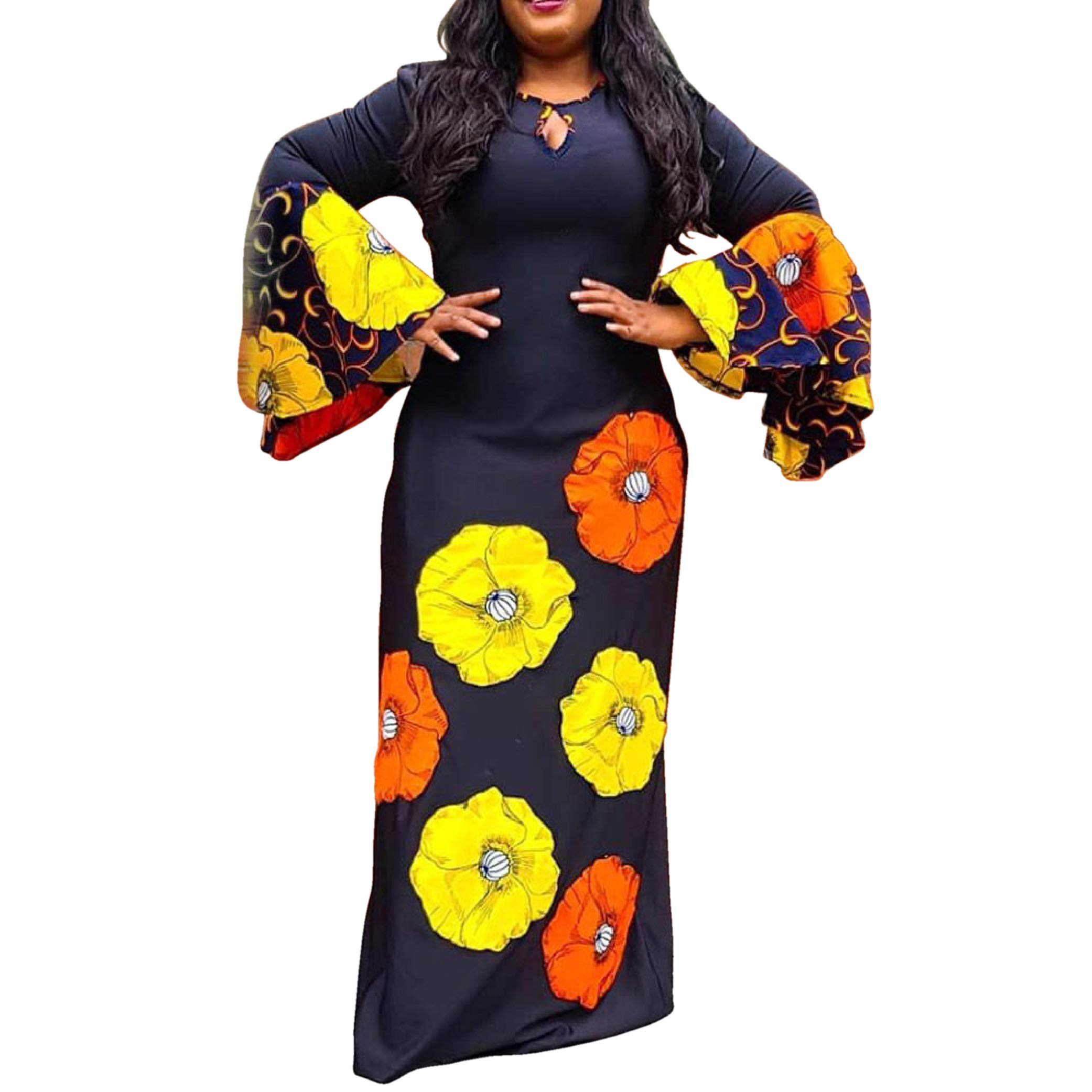 Available at Amazon: VERWIN Round Neck Long Sleeve Print Floral Women's Maxi Dress Pullover Dress Bodycon Dress