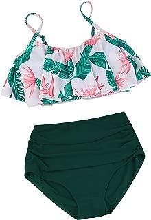 Womens High Waisted Bikini Flounce Top Bathing Suits Swimwear