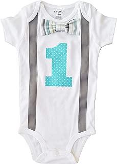 Perfect Pairz Baby Boys 1st Birthday Outfit - Gray Aqua Stripes/DotsBodysuit