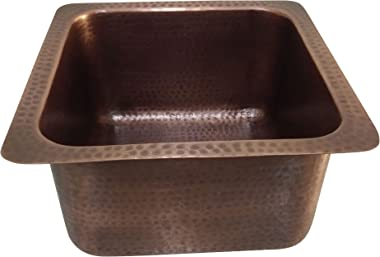 "Square Copper Bar Sink Antique Hammered 14"" x 14"" x 8"""
