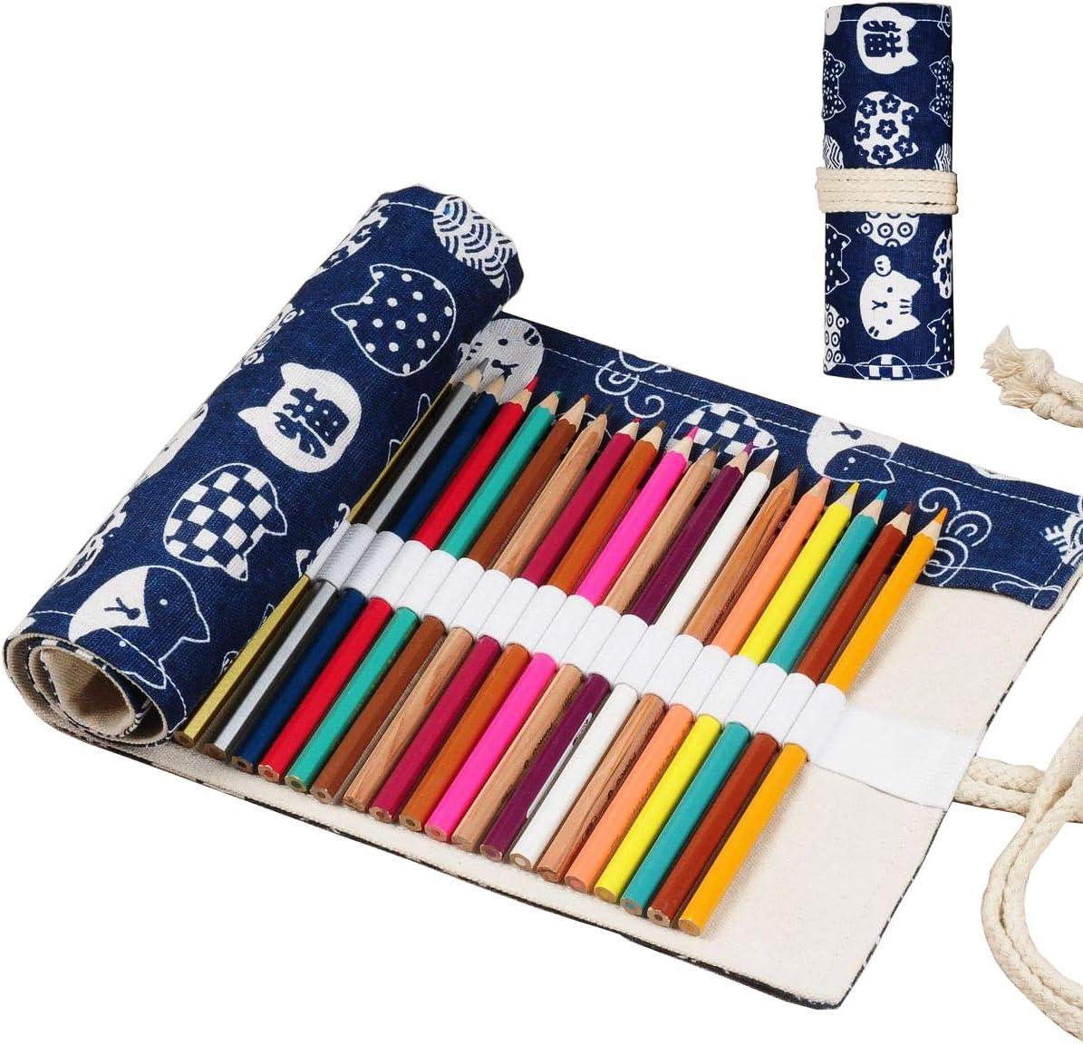 Enyuwlcm Daily bargain Nashville-Davidson Mall sale Canvas Stationery Handmade Roll Up for Pencil Arti Case