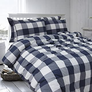 Merryfeel Cotton Duvet Covet Set,100% Cotton Yarn Dyed Buffalo Check Duvet Cover Set, Gingham Plaid Bedding Set - King Navy