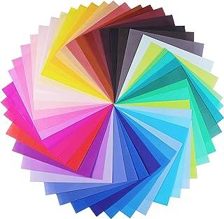 Papel para papiroflexia 100 hojas, Opret Papel de Origami Set para niños y adultos 20x20 cm/ 8x8 in 50 Colores Para Proyec...