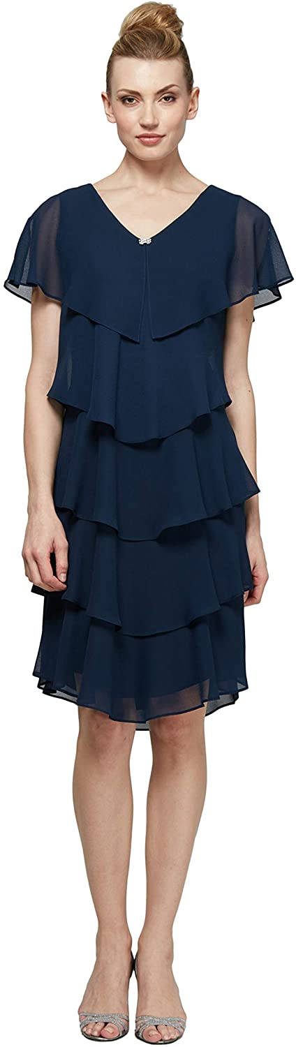 S.L. Fashions Women's Tiered Pebble Dress (Petite and Regular Sizes)