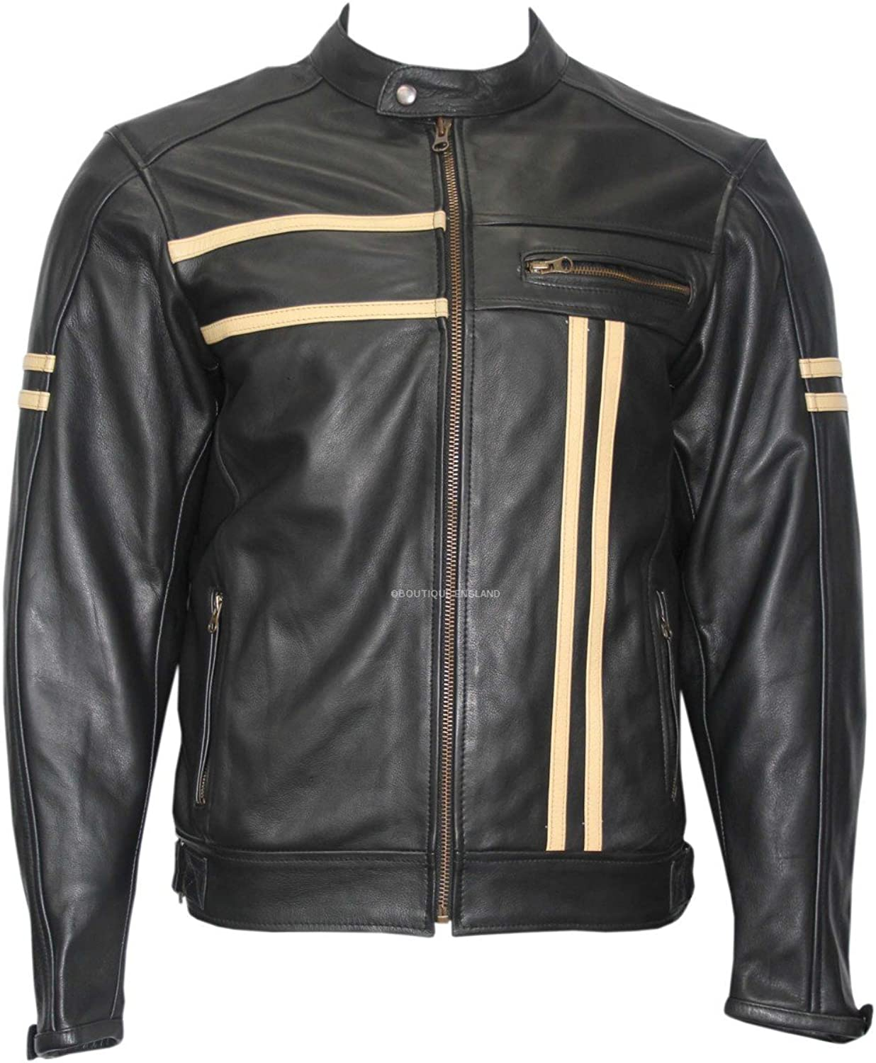 Real Rider Mens Black with Beige Stripes Biker Motorcycle Style Soft Real Thick Soft Hide Leather Jacket.
