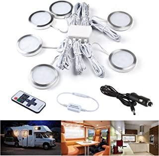 UCIN 12V RV Under Cabinet Lighting, Interior Car Lights, 6Pack Dimmable Warm White 3W LED Car Lights Interior with Wireles...