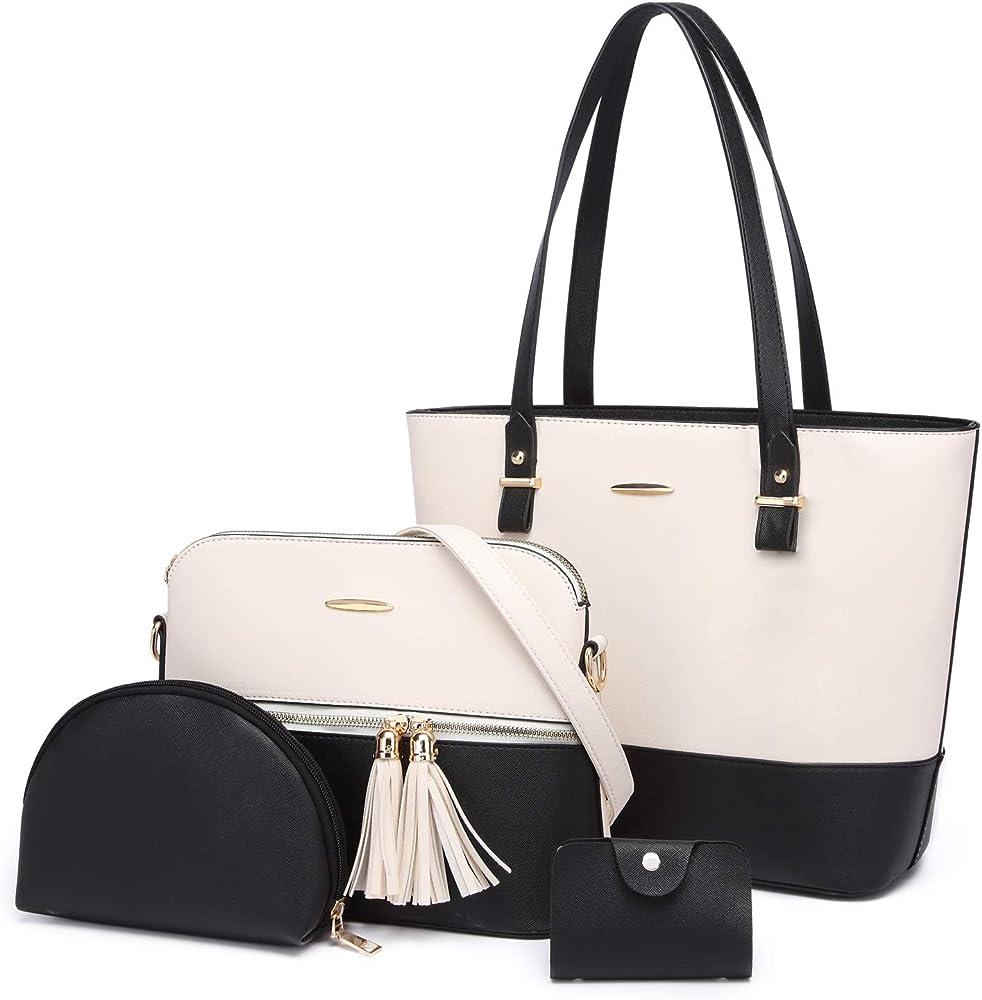 Yeumoug, borsa a spalla/tracolla da donna, con acessori, set da 4 pezzi, bianco/nero, in ecopelle