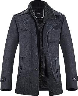 APTRO Men's Pea Coat Wool Blend Slim Fit Winter Coat Quilted Jacket