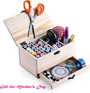 Leopardprintfans Wooden Sewing Basket Box with Sewing Kit Accessories Good Gift for Adults/Kids/Girls/Beginner/Professional and Mother's Day