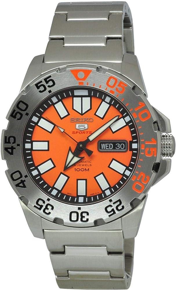 Seiko 5 sports,orologio automatico da uomo,in acciaio inossidabile e quadrante analogico arancione SRP483