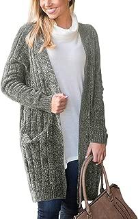 Doballa Women's Long Sleeve Velvet Chenille Open Front Cardigan Sweater Coat with Pockets