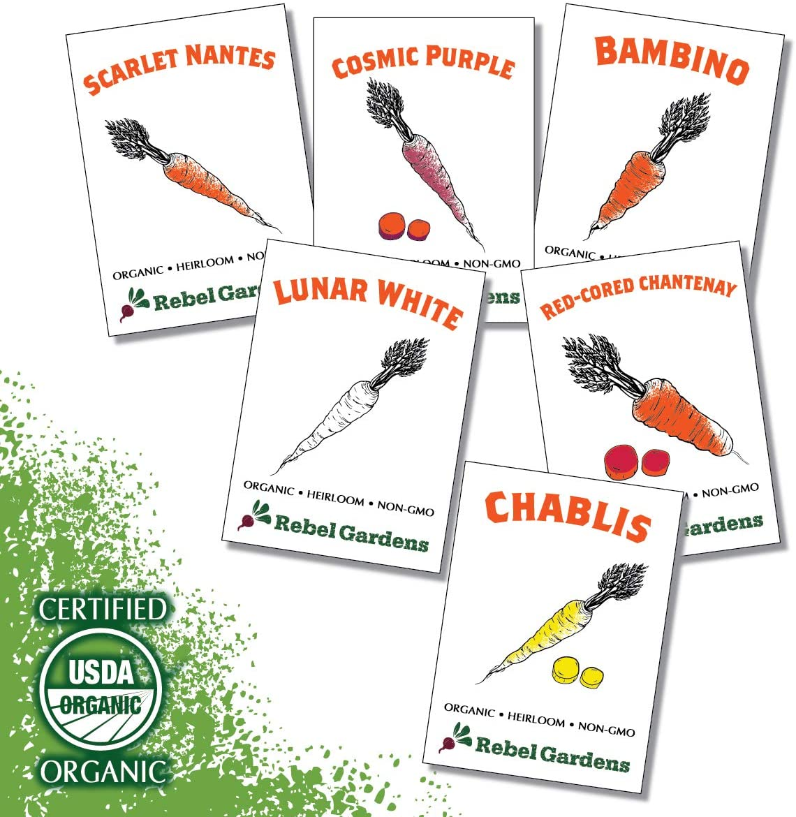 Heirloom Carrot Seeds - 6 Varieties of Organic Non GMO Carrots for Planting