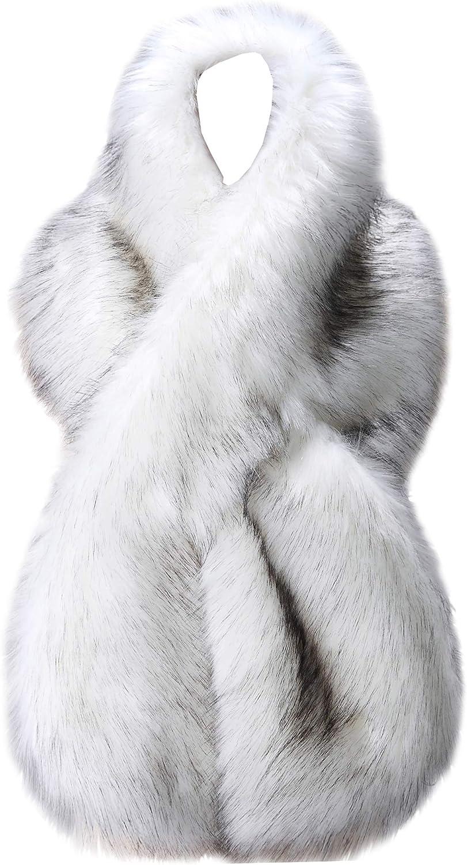 Beauty products Caracilia Women Winter Warm Faux Fox Collar Translated Stole Long Fur Scarf
